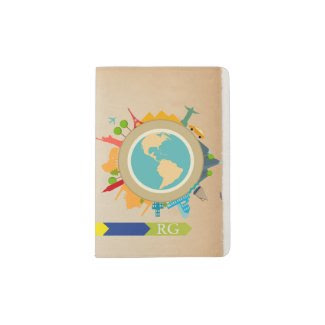 World Travel Monogrammed Personalized Passport Holder