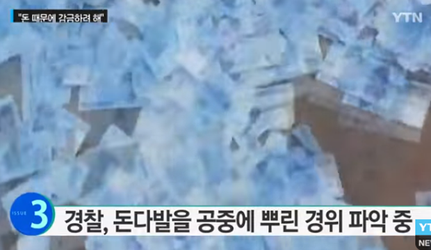 Mulher joga dinheiro na rua em Seul, Coreia do Sul (Foto: YTN News/Reprodução)