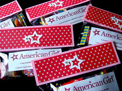 American Girl Doll Party Favors - Girls Survival Kit