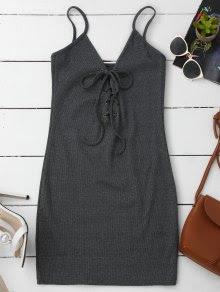 Lace Up Cami Knit Bodycon Vestido