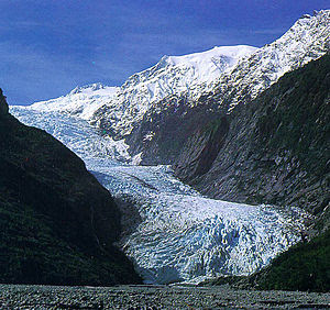 Franz Josef Glacier photographed from the vall...