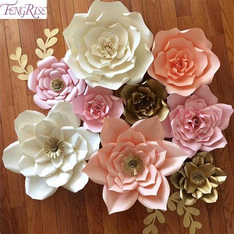 2019 Wholesale FENGRISE 20cm DIY Paper Flowers Backdrop