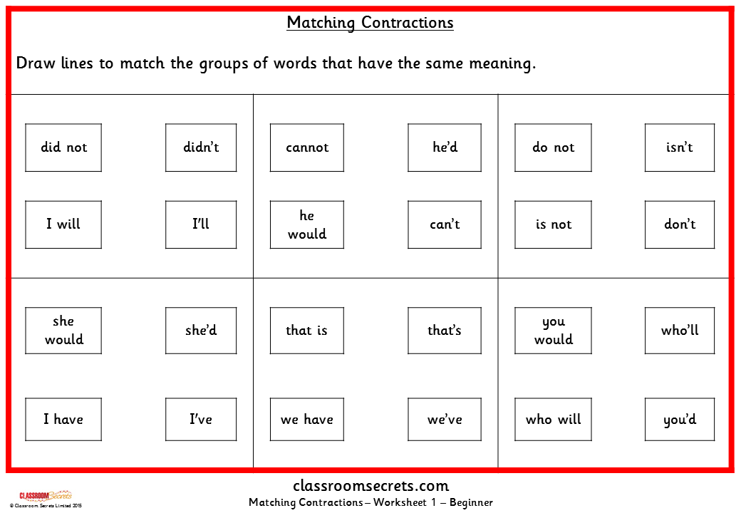 Matching Contractions KS1 SPAG Practice Classroom