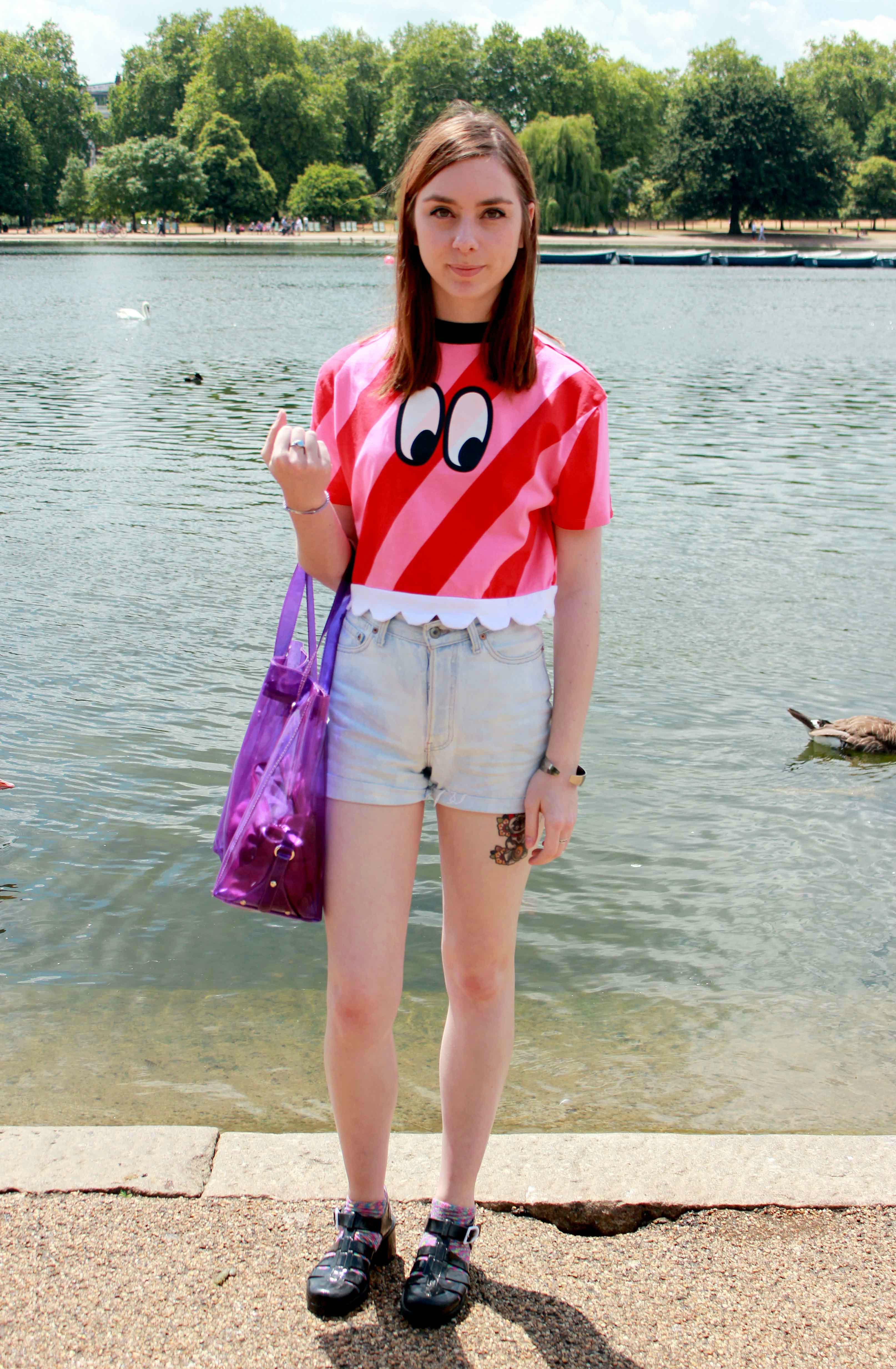 fashion and style blogger wearing a Lazy Oaf candy stripe top, Levis shorts and Juju jelly sandals
