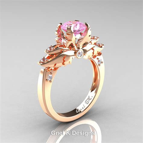 Classic Angel 14K Rose Gold 1.0 Ct Light Pink Sapphire