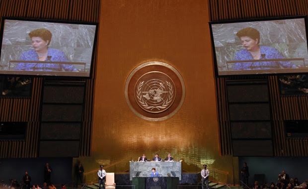 A presidente Dilma Rousseff durante discurso na Assembleia Geral da ONU, em Nova York (Foto: Reuters)