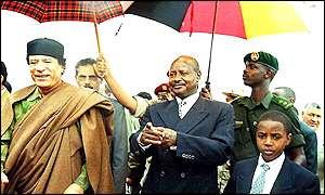 Muammar Gaddafi Yoweri Museveni And King Oyo Nyimba