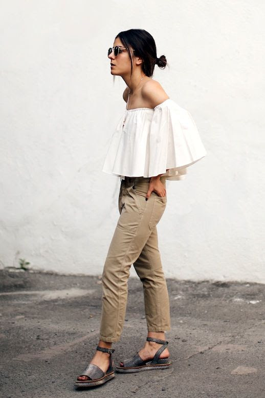 Le Fashion Blog Neutral Look Blogger Style Low Bun Sunglasses Ruffled Cream Off The Shoulder Top Khaki Cargo Pants Textured Sandals Via The Fashion Medley