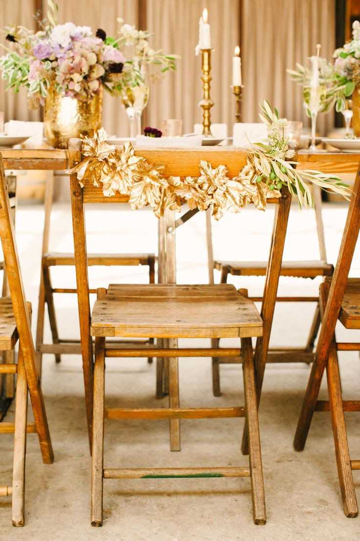 Gold Leaves | Chair Decor | More Wedding Inspiration on Style Me Pretty - http://www.StyleMePretty.com/2014/01/03/organic-glamour-inspiration-shoot-wiup/ Brklyn View Photography