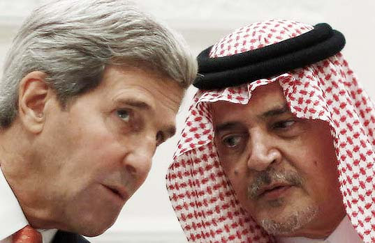 US Secretary of State John Kerry and Saudi Foreign Minister Prince Saud al-Faisal talk during a joint press conference in Riyadh. Photo: AFP