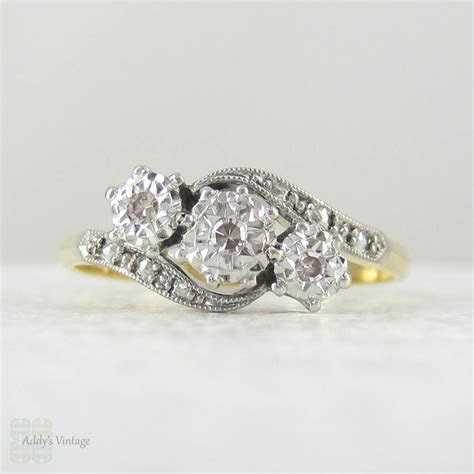 1930s Twist Trilogy Diamond Engagement Ring, Three Stone