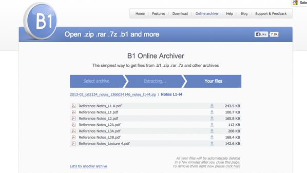 يقدم خدمة فك ضغط الملفات عن طريق الإنترنت إضافة إلى إمكانية تصفح محتوى الملف