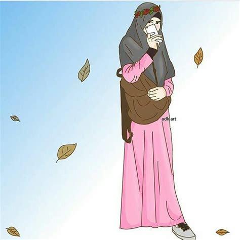kartun muslimah keren cantik gaul hijab