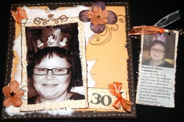 Therese 30 år og baksiden av tag med avisens bursdagshilsenen til henne ;)
