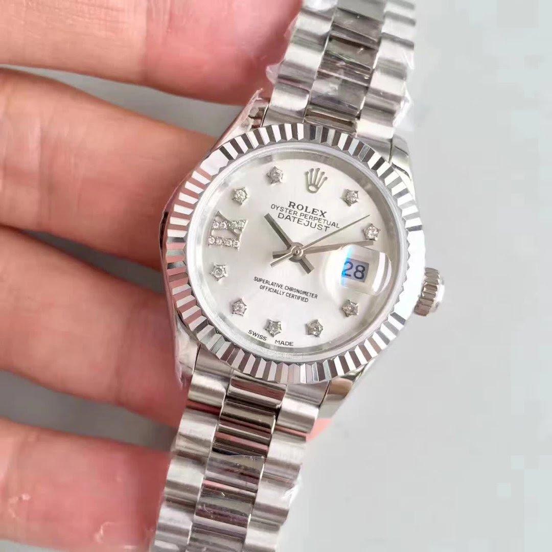 Stainless Steel 28mm Datejust Rolex Watch MOP White
