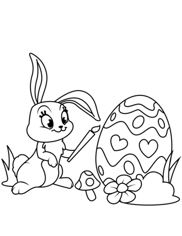 cute easter bunny painting egg coloring page  free printable coloring pages