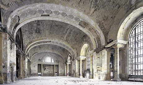 Photograph of dilapidated interior of Michigan Station in Detroit by Yves Marchand and Romain Meffre