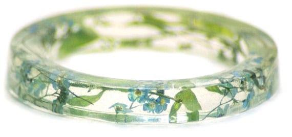 Flower Bracelet- Flower Jewelry- Blue Bracelet- Green Bracelet-Resin Bangle- Jewelry made with Real Flowers-Forget me not Flowers