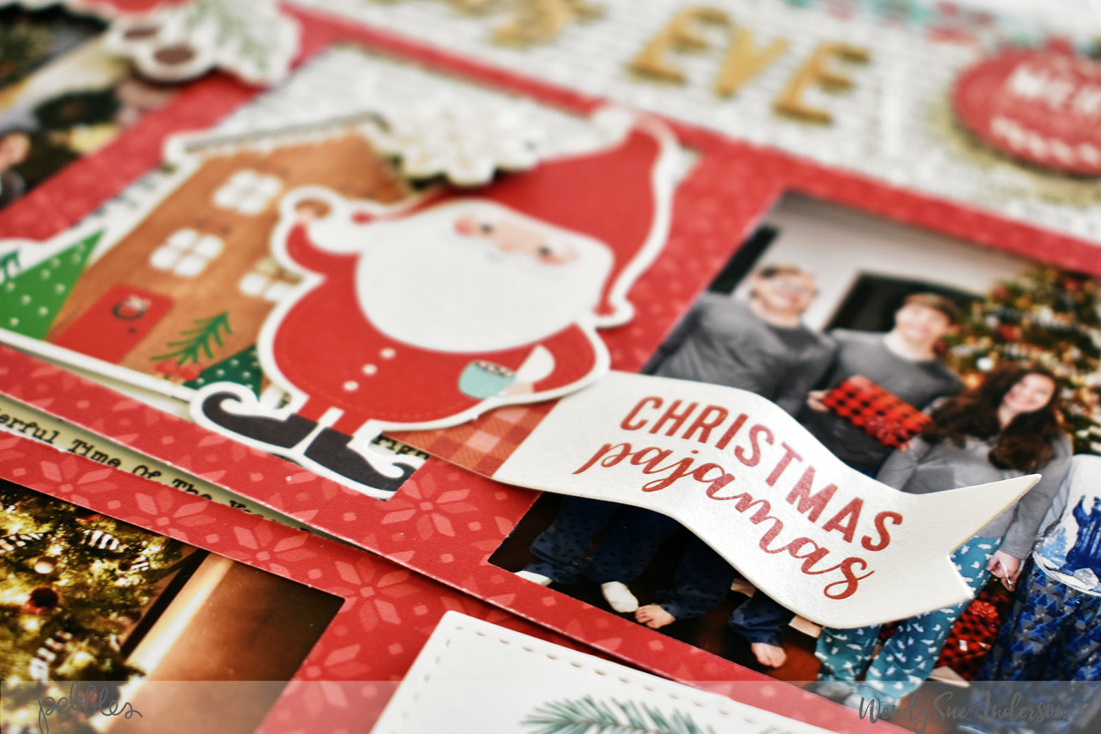 """Quick and Easy Christmas Eve Layout by Wendy Sue Anderson featuring the """"Cozy & Bright"""" collection by #PebblesInc."""