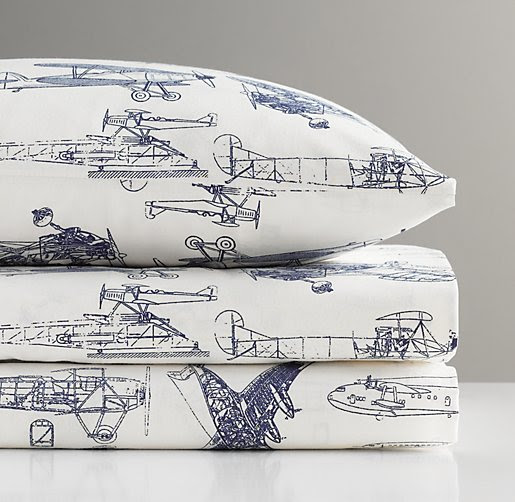 European Vintage Airplane Blueprint Sheet Set | Boy Sheet Sets ...