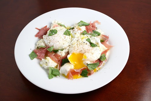 Poached Eggs with Prosciutto Mozzarella and Basil