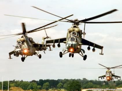 Hind helicopter gunships