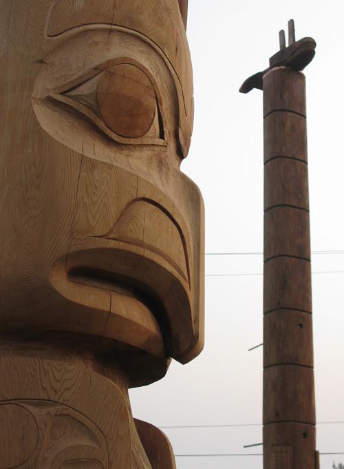 totem figures in Hydaburg Totem Park, Hydaburg, Alaska