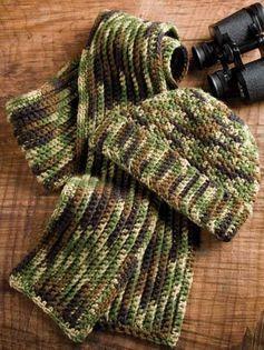 Man's Camo Hat & Scarf Crochet Pattern