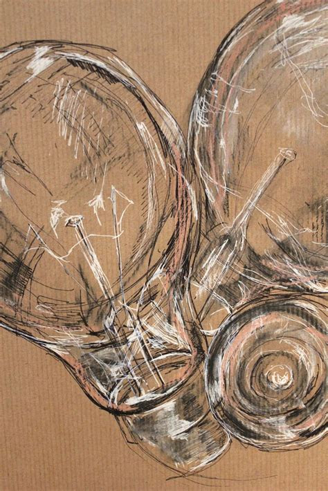 week drawing project  brown paper mixed media