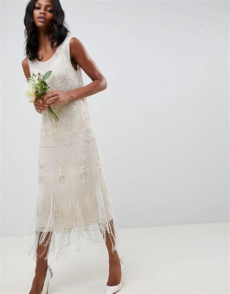 ASOS EDITION fringe embellished midi wedding dress with a