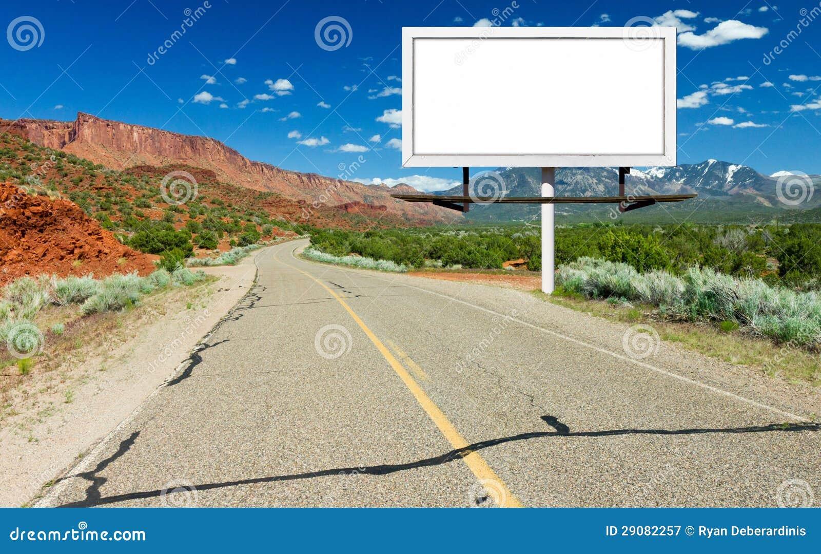 Blank Billboard Sign By Highway In Desert Royalty Free Stock ...