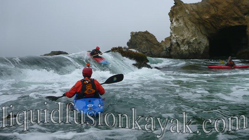 Whitewater kayaking ocean rock gardens