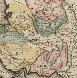 Bản đồ hiển thị tuyến đường của Alexander Đại đế qua Gedrosia