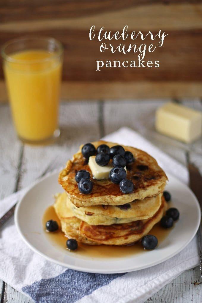 Blueberry Orange Pancakes | www.honeyandbirch.com | #BlueberryPancakeDay #breakfast