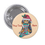 cute brown puppy with Christmas stocking holiday 1 Inch Round Button