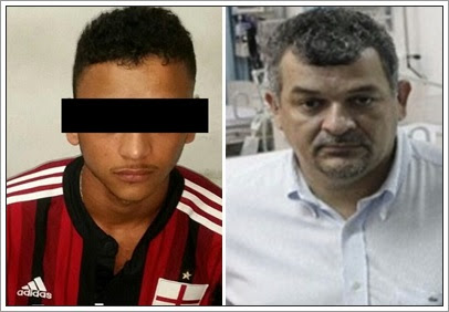 O menor infrator L.M.P. (à esquerda) é um dos assassinos do médico Luiz Alfredo Guterres (à direita)