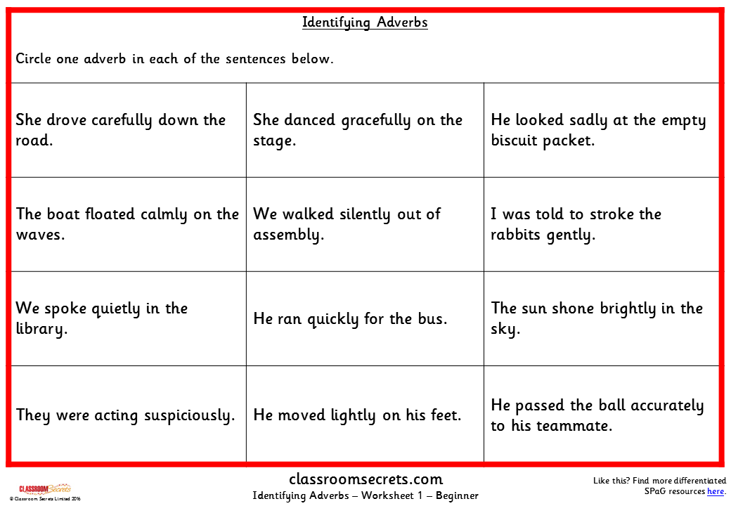 Identifying Adverbs KS2 SPAG Test Practice Classroom