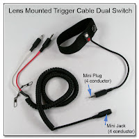 LT1009: Lens Mounted Trigger, Dual Switch, Coiled Cable, 4 conductor Mini Plug