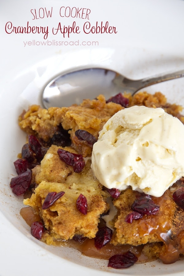 Slow Cooker Cranberry Apple Cobbler made with cake mix