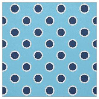 Navy Blue Polka Dot Pattern on Light Blue Fabric
