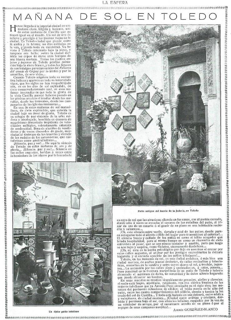 Artículo de Andrés González Blanco sobre los patios toledanos publicado el 12 de julio de 1919 en la Revista La Esfera
