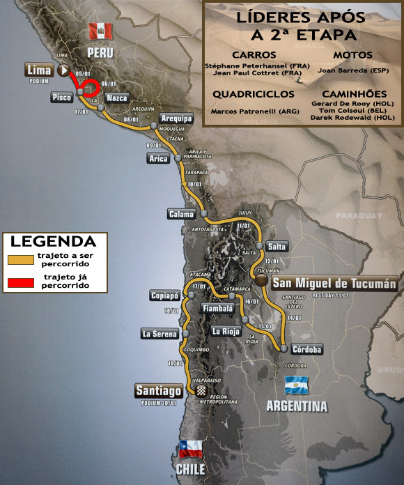 Terceira etapa do Rally Dakar promete dunas complicadas e asfalto ainda mais acidentado