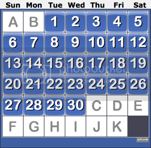 Sample solved sliding calendar puzzle