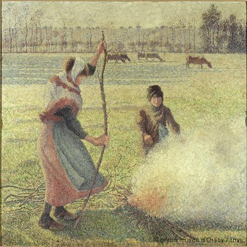 Jeune paysanne faisant du feu. Gelée blanche, Camille Pissarro, 1888