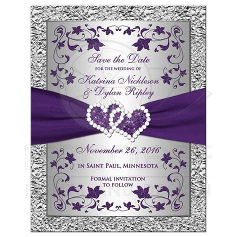 Photo Wedding Save the Date Card 2   Purple, Silver FAUX