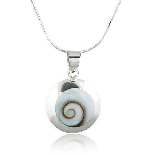 Chuvora Sterling Silver Shiva Eye Swirl Shell Inlay Round Pendant Necklace 18''