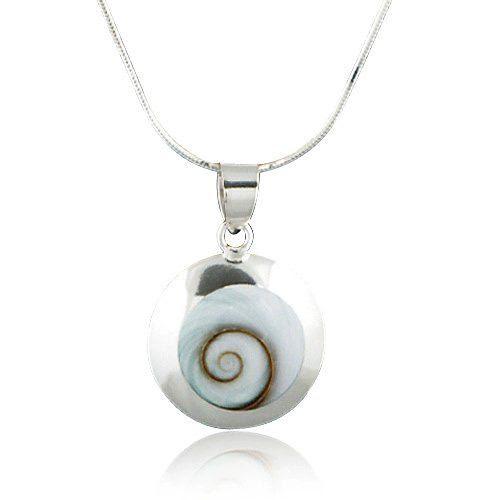 Chuvora Sterling Silver Shiva Eye Swirl Shell Inlay Round Pendant Necklace 18''
