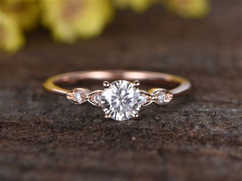 0.5 Carat Round Moissanite Engagement Ring Diamond 14k