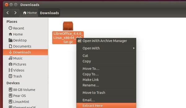 Unpack LibreOffice package