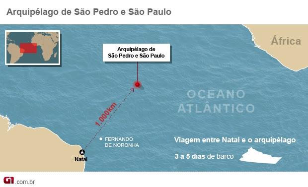 Localização do arquipélago de São Pedro e São Paulo (Foto: arte/G1)
